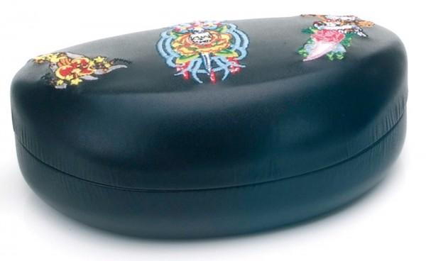 Brillenetui 4039 schwarz mit Stickereien
