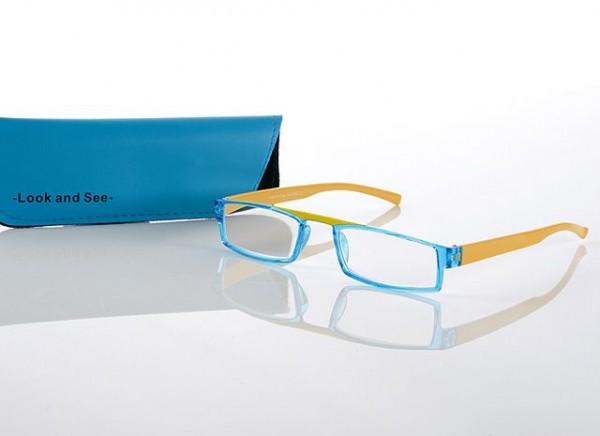 Fertigbrille Modell 287 col. 01 blau/gelb, Stärke sortiert