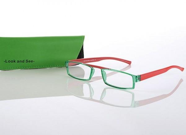 Fertigbrille Modell 287 col. 02 grün/rot, Stärke sort.